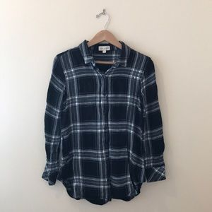 Cloth and Stone Plaid Flannel Buttondown Tunic Top